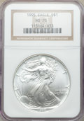 Modern Bullion Coins, 1995 $1 Silver Eagle MS70 NGC. NGC Census: (755). PCGS Population: (72). Mintage 4,672,051....