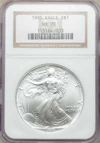 1995 $1 Silver Eagle MS70 NGC. NGC Census: (755). PCGS Population: (72). Mintage 4,672,051....(PCGS# 9886)