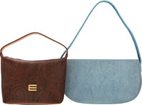 Etro Set of Two: Brown Paisley & Light Blue Bags Condition: 2 See Extended Condition Report for Sizes... ... (To...