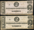 Confederate Notes:1862 Issues, T54 $2 1862 PF-11 Cr. 392 Two Examples Fine.. ... (Total: 2 notes)