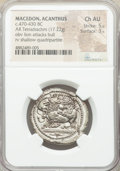 Ancients:Greek, Ancients: MACEDON. Acanthus. Ca. 470-430 BC. AR tetradrachm (29mm, 17.22 gm). NGC Choice AU 5/5 - 3/5....