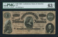 Confederate Notes:1864 Issues, T65 $100 1864 PF-3 Cr. 494 PMG Choice Uncirculated 63 Net.. ...