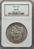 Morgan Dollars: , 1904-S $1 AU50 NGC. NGC Census: (133/995). PCGS Population: (182/1846). CDN: $500 Whsle. Bid for problem-free NGC/PCGS AU50...