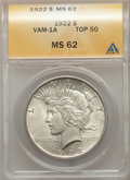 1922 $1 Line in Tiara, VAM-1A, MS62 ANACS. A Top 50 Variety. This lot will also include a: 1923 $1 Bar Wing, VAM-1'O'...