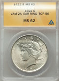 Peace Dollars, 1922 $1 Earring, VAM-2A, MS62 ANACS. A Top 50 Variety. NGC Census: 7844 in 62 (1 in 62+, 2 in 62★ ), 196002 finer ...