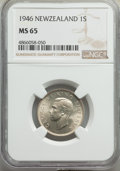 New Zealand: George VI Shilling 1946 MS65 NGC