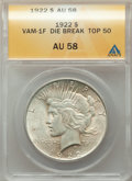 Peace Dollars, 1922 $1 Field Break, VAM-1F, AU58 ANACS. A Top 50 Variety. This lot will also include the following: 1922-D $1 Doubled... (Total: 3 coins)
