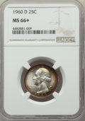 Washington Quarters, 1960-D 25C MS66+ NGC. NGC Census: (385/19 and 8/0+). PCGS Population: (550/17 and 19/0+). CDN: $38 Whsle. Bid for problem-f...