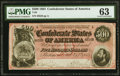 Confederate Notes:1864 Issues, T64 $500 1864 PF-3 Cr. 489B PMG Choice Uncirculated 63.. ...