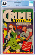 Golden Age (1938-1955):Crime, Crime Mysteries #4 (Ribage Publishing, 1952) CGC VG/FN 5.0 White pages....