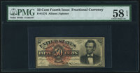Fr. 1374 50¢ Fourth Issue Lincoln PMG Choice About Unc 58 EPQ