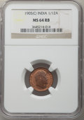India:British India, India: British India. Edward VII 5-Piece Lot of Certified 1/12 Annas NGC,... (Total: 5 coins)