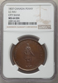 Canada: Lower Canada. City Bank Penny (2 Sous) Token 1837 MS64 Brown NGC