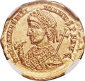 Ancients:Roman Imperial, Ancients: Valentinian III, Western Roman Empire (AD 425-455). AV solidus (21mm, 4.43 gm, 7h). NGC MS★ 5/5 - 4/5....