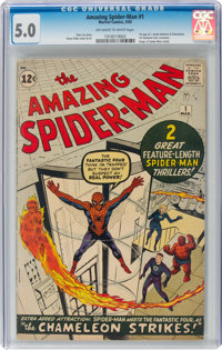 The Amazing Spider-Man #1 (Marvel, 1963) CGC VG/FN 5.0 Off-white to white pages