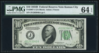 Fr. 2007-J $10 1934B Federal Reserve Note. PMG Choice Uncirculated 64 EPQ