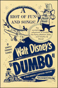 "Movie Posters:Animation, Dumbo (Buena Vista, R-1950s). Folded, Very Fine. One Sheet (27"" X 41""). Animation.. ..."