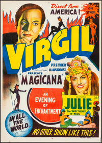 """Virgil: The Premier International Illusionist (c.1950s). Rolled, Very Fine-. Poster (29"""" X 40""""). Miscellaneous..."""