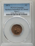 Indian Cents, 1873 1C Open 3 -- Surfaces Smoothed -- PCGS Genuine. AU Details. NGC Census: (28/331). PCGS Population: (64/351). CDN: $165...