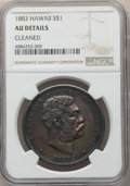 1883 $1 Hawaii Dollar -- Cleaned -- NGC Details. AU. NGC Census: (38/212). PCGS Population: (86/250). CDN: $900 Whsle. B...