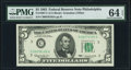 Fr. 1967-C $5 1963 Federal Reserve Note. PMG Choice Uncirculated 64 EPQ