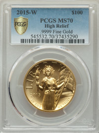 2015-W $100 High Relief One-Ounce Gold MS70 PCGS. .9999 Fine Gold. PCGS Population: (1334 and 0+). NGC Census: (1510 and...