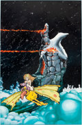 Original Comic Art:Paintings, Vaughn Bodé and and Larry Todd - Lizard and Chick/Fantasy Castle Painting Original Art (c. 1970s)....