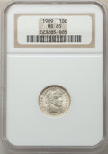 Barber Dimes, 1909 10C MS65 NGC. NGC Census: (29/10). PCGS Population: (47/19). MS65. Mintage 10,240,650. . From The Dunleavy Col...