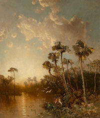George Herbert McCord (American, 1848-1909) Marsh Landscape Oil on canvas 30 x 25 inches (76.2 x