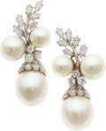 Estate Jewelry:Earrings, South Sea Cultured Pearl, Diamond, Cultured Pearl, Platinum Earrings, David Webb. ...