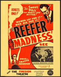 """Reefer Madness (New Line, R-1972). Folded, Very Fine+. Poster (17.25"""" X 22.25""""). Exploitation"""