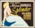 "Movie Posters:Comedy, Splendor (United Artists, 1935). Fine+. Title Lobby Card (11"" X 14""). Comedy.. ..."