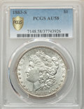 Morgan Dollars: , 1883-S $1 AU58 PCGS Secure. PCGS Population: (875/3069 and 7/91+). NGC Census: (903/1858 and 0/27+). CDN: $350 Whsle. Bid f...