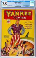 Golden Age (1938-1955):Superhero, Yankee Comics #1 (Chesler, 1941) CGC VF- 7.5 Off-white to white pages....