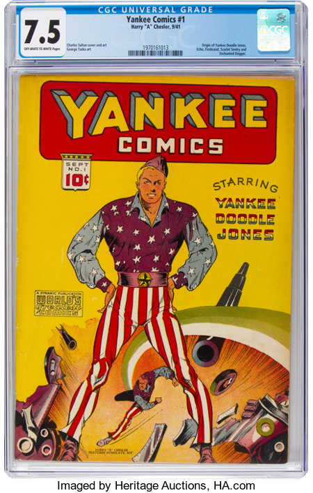 Yankee Comics #1 (Chesler, 1941) CGC VF- 7.5 Off-white to white pages....