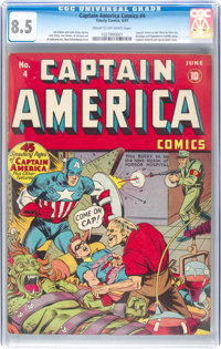 Captain America Comics #4 (Timely, 1941) CGC VF+ 8.5 Cream to off-white pages