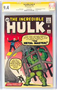 The Incredible Hulk #6 Signature Series - Stan Lee (Marvel, 1963) CGC NM 9.4 White pages