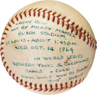 1964 Mickey Mantle World Series Home Run #17 Baseball, MEARS Authentic
