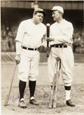 Baseball Collectibles:Photos, The Only Known Babe Ruth & Ty Cobb Dual-Signed Photograph....