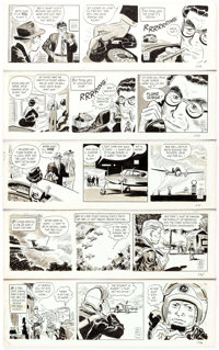 Bob Lubbers (as Bob Lewis) Secret Agent X-9 Daily Comic Strip Original Art Group of 5 (King Features Syndicate, 19... (T...