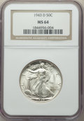 Walking Liberty Half Dollars, 1943-D 50C MS64 NGC. This lot also include the following: 1945-S 50C MS64 NGC; 1946-D 50C MS64 NGC; 1947 50C MS64 NGC,... (Total: 5 coins)