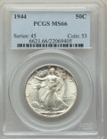 Walking Liberty Half Dollars: , 1944 50C MS66 PCGS. PCGS Population: (1419/125). NGC Census: (921/84). MS66. Mintage 28,206,000. ...