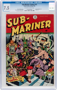 Sub-Mariner Comics #13 (Timely, 1944) CGC VF- 7.5 Off-white to white pages