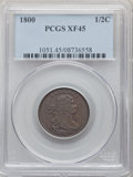 1800 1/2 C XF45 PCGS. PCGS Population: (28/127). NGC Census: (0/0). CDN: $510 Whsle. Bid for problem-free NGC/PCGS XF45...