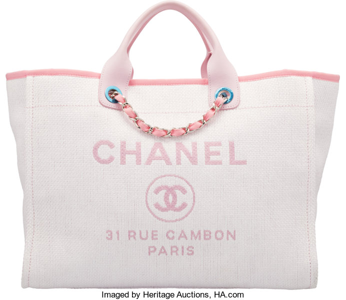 5658b801f Luxury Accessories:Bags, Chanel Light Pink Woven Straw Large Deauville Tote  Bag.
