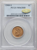 1908-S 1C MS63 Red and Brown PCGS. Gold CAC. PCGS Population: (280/690 and 1/10+). NGC Census: (93/395 and 0/3+). CDN: $...