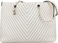 Luxury Accessories:Bags, Chanel White Perforated Caviar Leather Chevron Tote Bag
