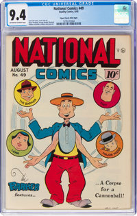 National Comics #49 Mile High Pedigree (Quality, 1945) CGC NM 9.4 Off-white to white pages