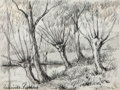 Works on Paper, PaulémilePissarro (French, 1884-1972). River Landscape. Charcoal on paper. 8 x 10-5/8 inches (20.3 x 27.0 cm). Signed lo...