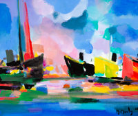 Marcel Mouly (French, 1918-2008) Le Bateau Jaune, 2000 Acrylic on canvas 18 x 21-1/2 inches (45.7